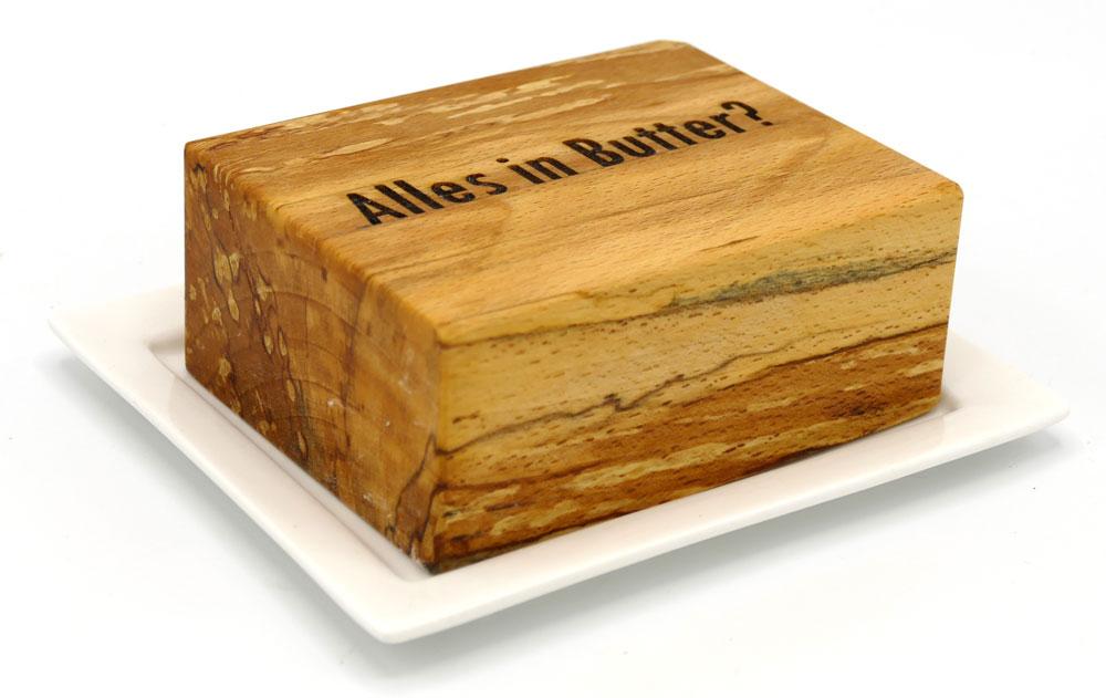 Butterdose aus gestockter Buche
