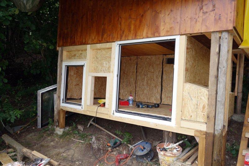 Einbau der Fenster auf der Südseite