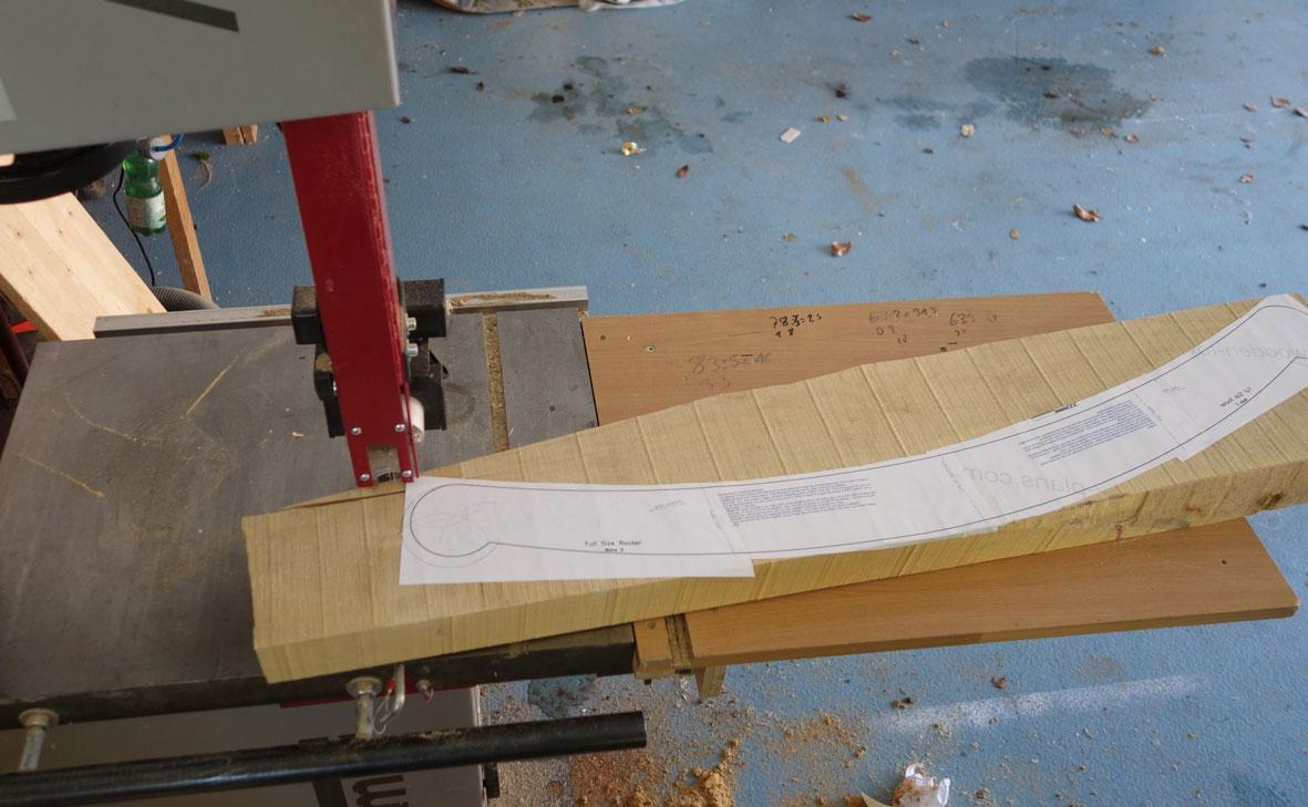 Ausschneiden der 1Meter langen Kufe von einem 60mm starken Ahornrohling