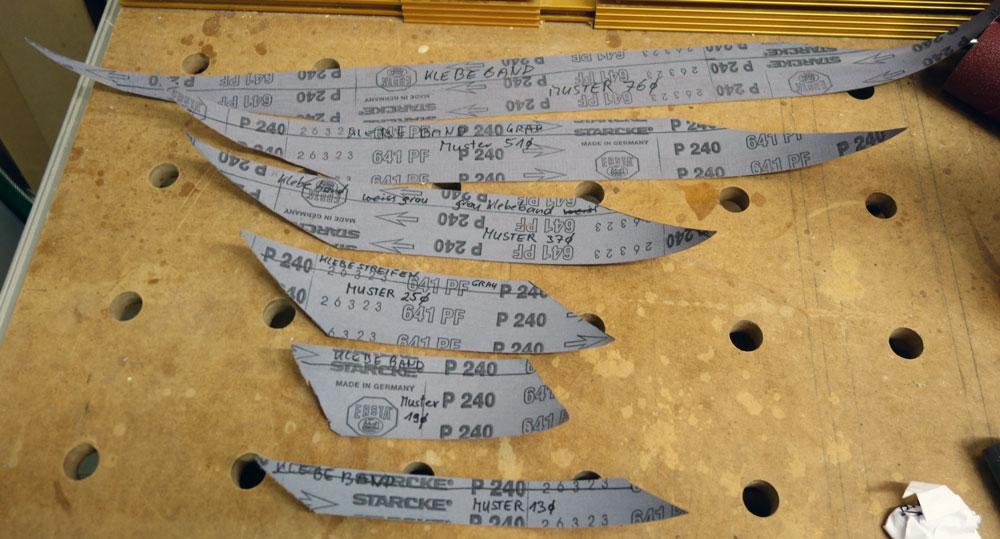 Fertige Schablonen aus Schleifpapier