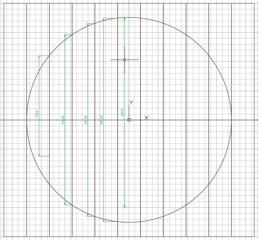 Skizzenerstellung mittels CAD, um die notwendigen Längen zu ermitteln