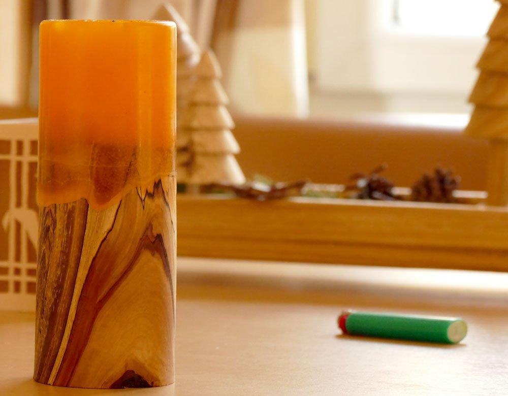 Kerze aus Apfelbaumholz