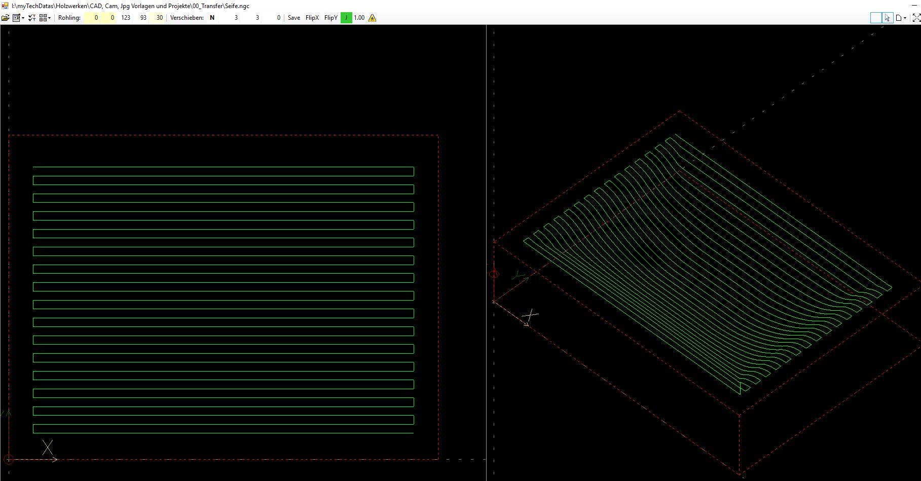 Um die Vertiefung zu bekommen musste ein Werkzeugweg für die CNC Fräse (Solidis) programmiert werden
