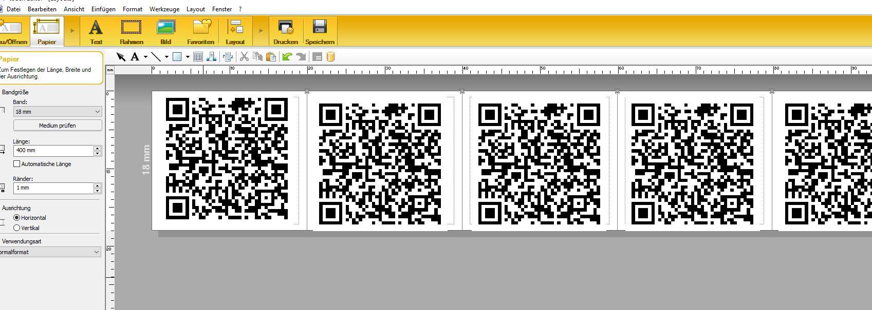 P-Touch-Editor zur QR-Ausdruck Generierung