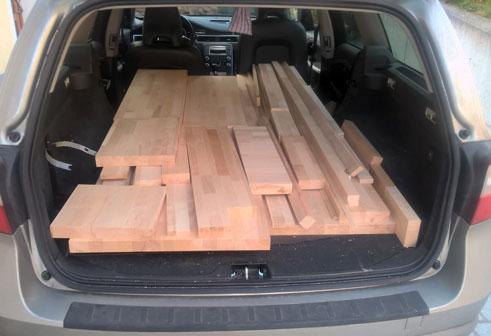 Vom Baumarkt nach Hause transportierte Teile