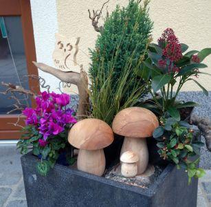 Schwammerl aus Eibenholz eingesetzt zu Dekorationszwecken