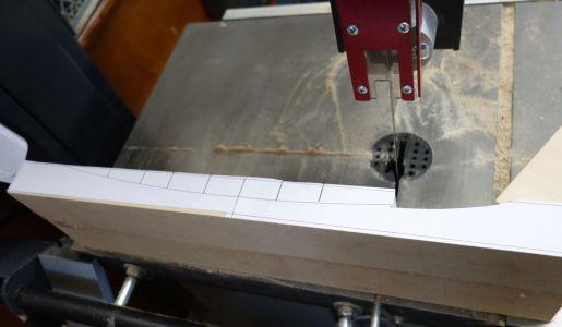 Kreisbögen mittels Bandsäge mit 6mm breitem Sägeband ausgesägt