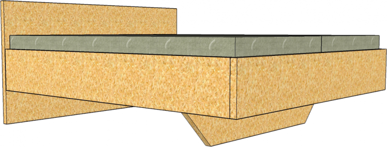 Doppelbett aus Zirbenholz skizziert in Sketchup